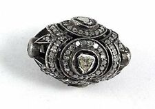 Oval Antique Finish Handmade Beads 39 Diamond Rose Cut Solid 925 Sterling Silver