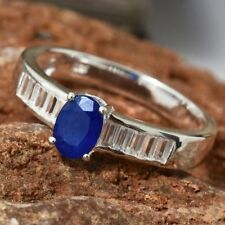 1.5Cts Very Rare Cobalt Blue Spinel & Natural Zircon Platinum/925 Ring Size O/7