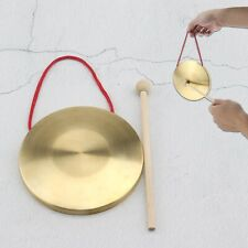 More details for 15cm mini brass gong with drumstick musical chinese feng instrument shows stage