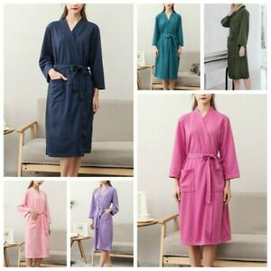 Femme Peignoir Robe de Nuit Long Robe de Chambre Bain Pyjama Souple Manteau