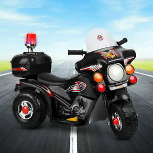 Kids Toy 3 wheel Electric Ride On Police Motorbike Motorcycle Motor Bike Car BLK