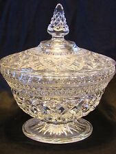 Vintage Anchor Hocking Wexford Clear Pressed Glass Diamond Cut Nut Candy Dish 7""