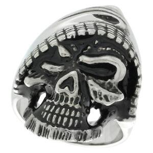 Stainless Steel Gothic Hooded Skull Biker Ring