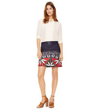 Tory Burch Navy Leather Embroidered Skirt $695  M L Runway NWT 10 Avoma Pottery