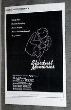 STARDUST MEMORIES orig pressbook WOODY ALLEN/CHARLOTTE RAMPLING/JESSICA HARPER