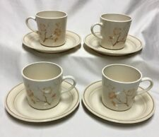 Set of 4 Corning Corelle Cornerstone, CHINA BLOSSOM Coffee Cups and Saucers EUC