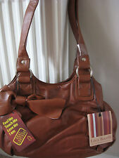 NEW WOMEN'S BAG LUCA BOCELLI GENUINE LEATHER SHOULDER HANDBAG TAN BROWN rrp £85