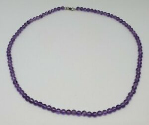 """4.5mm Amethyst Bead Choker Necklace 14k White Gold Clasp 16.5"""""""