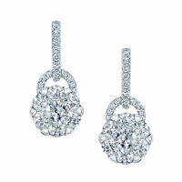 14k White Gold Diamond Drop Earring Arched Hinge Round Cluster Natural 1.21 CT