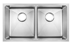 793 x 461mm Double Bowl Handmade Undermount Sink With Easy Clean Corners (DS020)