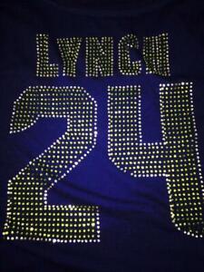 Women's Ladies Seahawks Bling Sparkle Marshwan Lynch Jersey Shirt SUPER BOWL