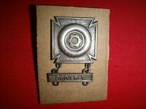 US Army Qualification DRIVER Metal Badge With DRIVER-W Bar