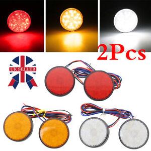 2x LED Rear Tail Brake Stop Lamp Car Motorbike Motorcycle Round Reflector Lights