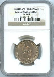 French Oceania 2 Francs ESSAI 1948 KM E5 NGC MS 64
