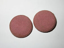2 32mm Pink Fabric and Metal Vintage Buttons 1960-1980s