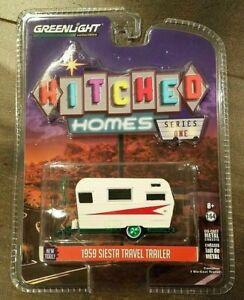 CHASE GREENLIGHT  1959 SIESTA TRAVEL TRAILER 1/64 DIECAST WHITE / RED 34010-B