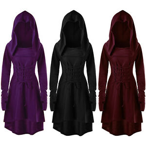 Roleplay Gothic Women Medieval Hooded Lace-up Midi Dress Party Costume Cosplay