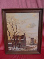 Pretty, Old Painting Dutch Village Street__Signed_