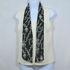 Women's S by Requirements White w/ Attached Black Floral Design Scarf Tank Shell