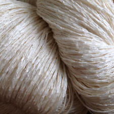 Undyed Silk and Linen Chainette Yarn, Lace/Fingering, Natural White, Japan