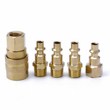 "5Pcs Brass Quick Coupler Set Solid Air Hose Connector Fittings 1/4"" NPT Tools"