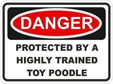 CANE RAZZA Toy Poodle pericolo Adesivo Pet per PARAURTI Locker Auto Porta