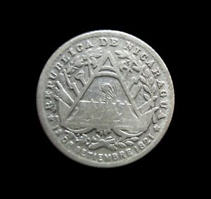 NICARAGUA 5 CENTS 1887 H SILVER KM 5 #5171#