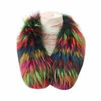 Women's Fluffy Real Raccoon Fur Collar For Winter Coat Size 70x12cm Colorful