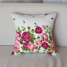 Country Vintage White Pink Rose Floral Home Decor Cushion Throw Pillow Cover 17""