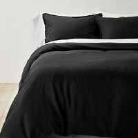 Full/Queen Heavyweight Linen Blend Duvet Cover and Sham Set Washed Black