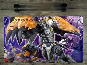 Digimon Black War Greymon Custom Duel Playmat Card Zones DTCG Mat Free Best Tube