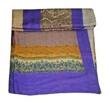 Queen Patchwork Kantha Quilts Vintage Silk Sari Bedspread Embroidered Bed Cover*