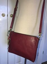 BNWT Fossil Emma Crossbody Wine Leather Handbag. RRP £119