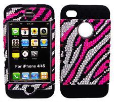 Pink Zebra Print Diamond Hard Cover Black Hybrid Case for Apple iPhone 4 4S 4GS