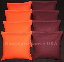 Cornhole Bean Bags Orange & Dunkel Kastanienbraun Granat Burgund 8 ACA Beutel Virginia Tech