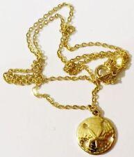petit pendentif chaine bijou rétro couleur or oursin gold tone pendant * 4064
