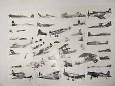 Vintage Warbird Military Aviation Airplane Postcard Lot of 39 Artist JOE MILICH