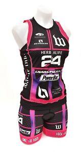 Wattie Ink Herbalife 24 Sleeveless Triathlon Kit Women MEDIUM Pink Ironman Tri