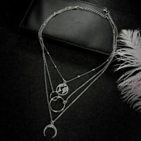 Boho Multilayer Moon Women Clavicle Choker Necklace Charm Chain Jewelry