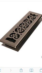 "Decor Grates SPH212 2""x12"" Floor Register, Scrolled Steel Plated Antique"