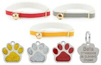 Cat Collar Ancol Felt Backed, Red, Yellow Or Silver With 27mm Glitter Id Tag