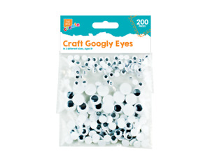 200 x Assorted Size Goggly Eyes Art Craft Wobbly Wiggly Googly Kids