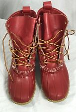 Vintage LL Bean Men Rare Red  Gumshoe Duck Bean Boots Rubber  Rain Size 8