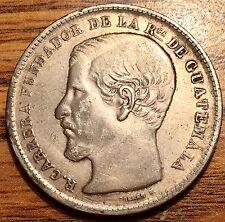 1870 R Silver Guatemala Un Peso R. Carrera Coin Extremely Fine Condition