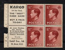 Ed Viii - Pb5(6) 1 1/2d booklet pane with adverts. Unmounted mint, good perfs.