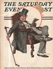 1925 Saturday Evening Post July 11 Norman Rockwell rich cops a cigar; Wodehouse
