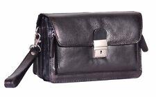 Bolsa de pulsera para hombre Cuero Real Negro Móvil de viaje llevar todos organizador Clutch Bag
