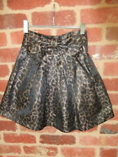pre loved ladies size 6 revival glittery shimmery pleated animal print skirt bow