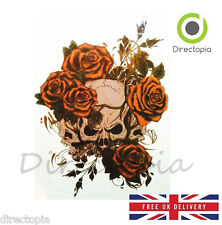 Large Waterproof 3D Traditional Skull & Roses Temporary Tattoo Sticker Art #2