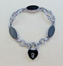 Vintage Silver Art Deco Style Black Enamel Heart Padlock Bracelet